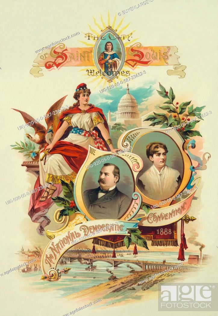 Presidential Campaign Convention Poster With Portraits Of
