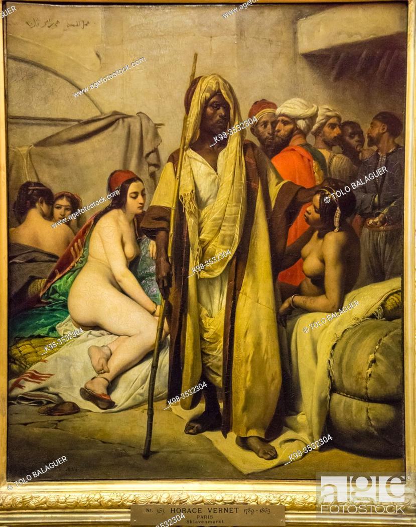 Stock Photo: mercado de esclavos, Horace Vernet, 1836, Alte Nationalgalerie , Antigua Galería Nacional, Isla de los Museos, Berlin, Alemania, europe.