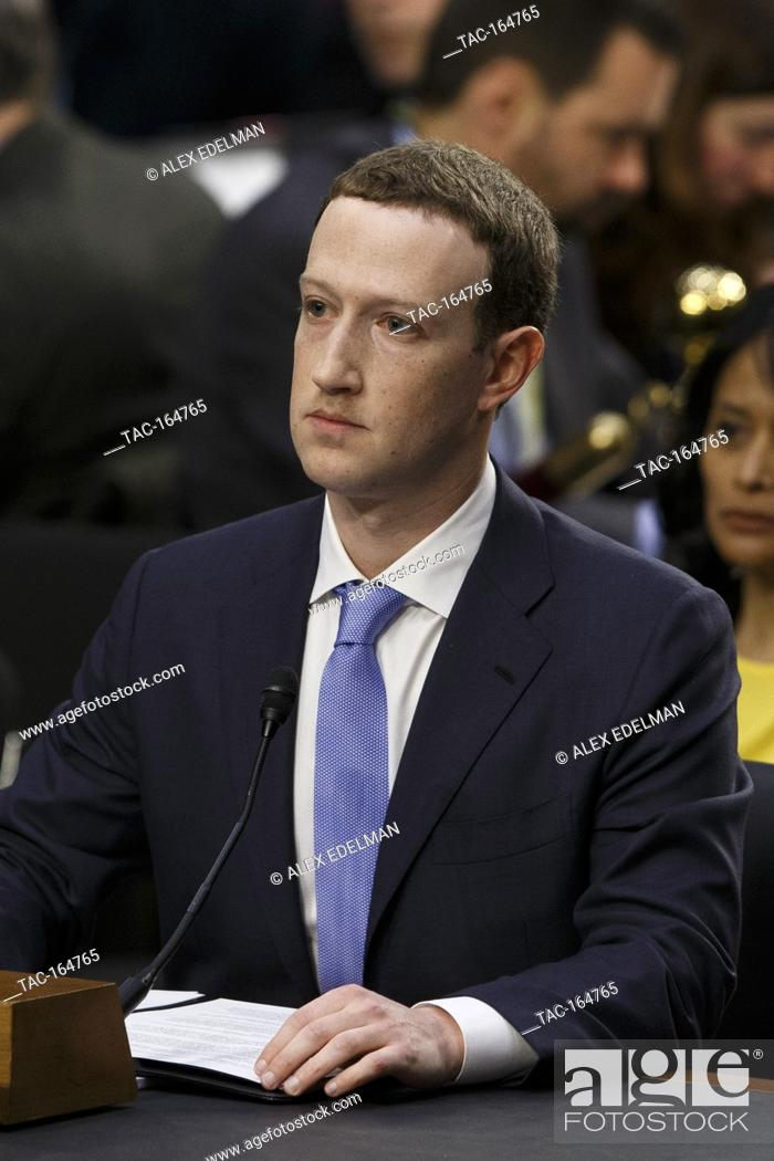 Stock Photo: Facebook CEO Mark Zuckerberg testifies before the United States Senate on Capitol Hill in Washington, DC on April 10, 2018.