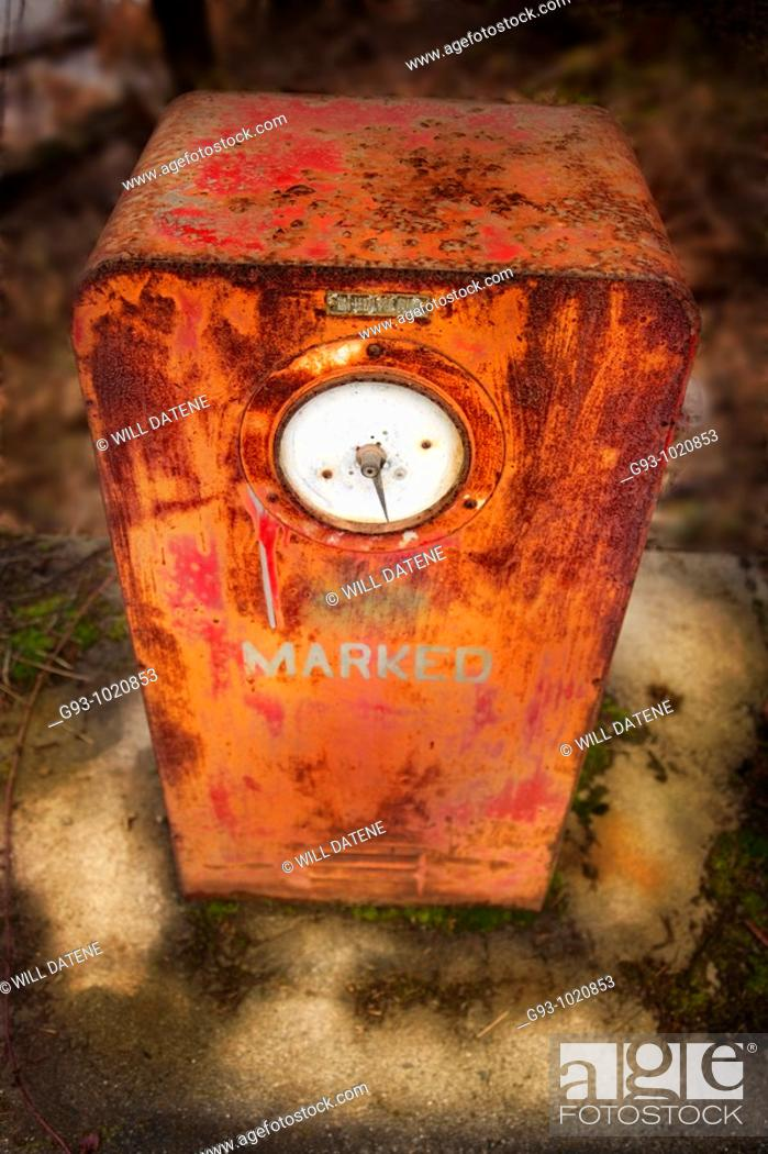 Stock Photo: old fuel pump with thw word marked on it.