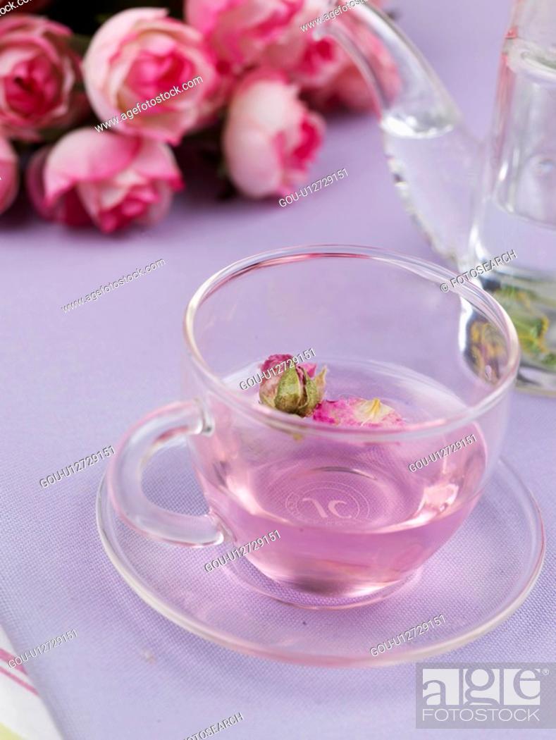 Stock Photo: rose tea, cuisine, tea, drink, beverage, food.