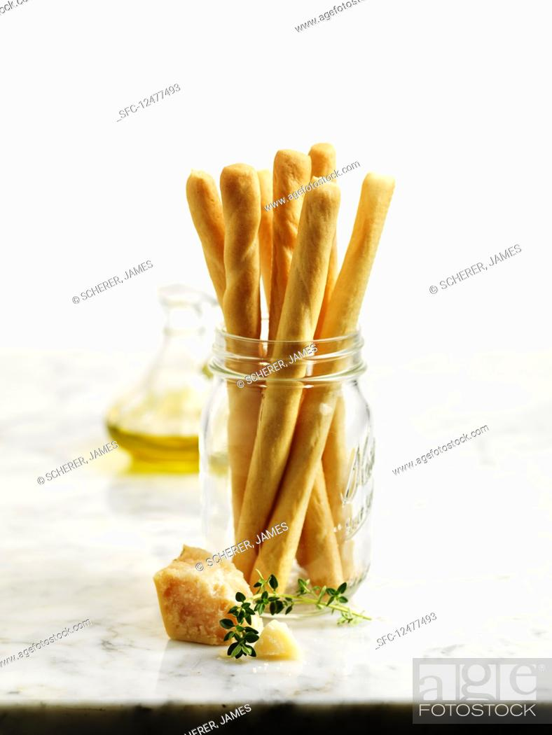 Stock Photo: Breadsticks stacked.