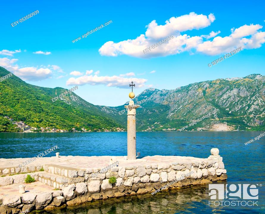 Stock Photo: Lighthouse on island Lady of the Rocks. Lighthouse on the artificially built island of Our Lady on the Rock near Perast, Montenegro.