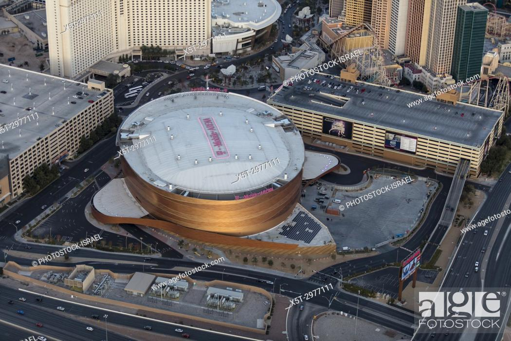 Stock Photo: Aerial view of T-Mobile Arena on the Strip, Las Vegas, Nevada, USA.