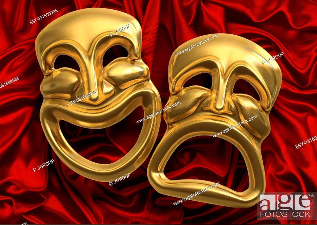 Photo de stock: Classic comedy-tragedy theater masks against red curtain fabric.