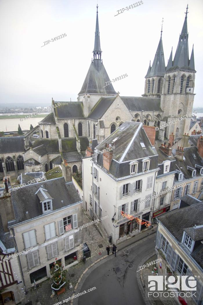 Stock Photo: Blois France on December 30, 2019: Old medieval houses and St Nicholas church from castle viewpoint in Loire Valley.