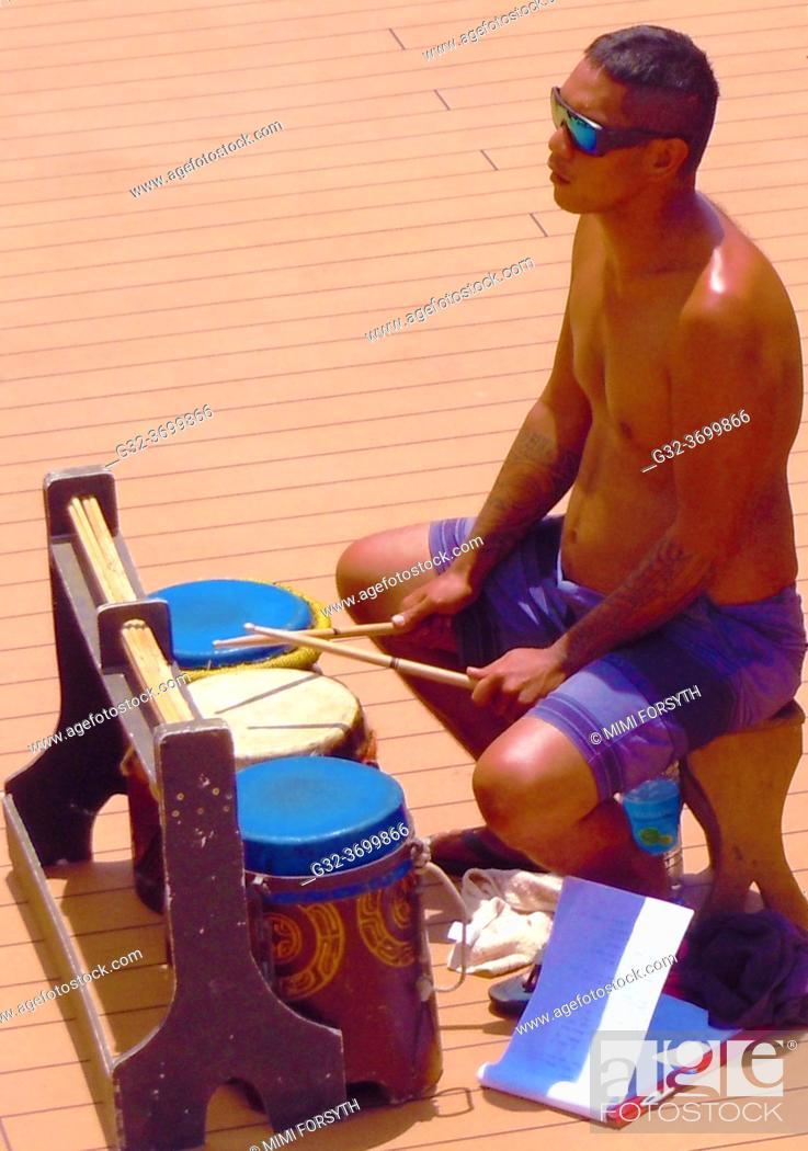 Stock Photo: drummer, French Polynesia.
