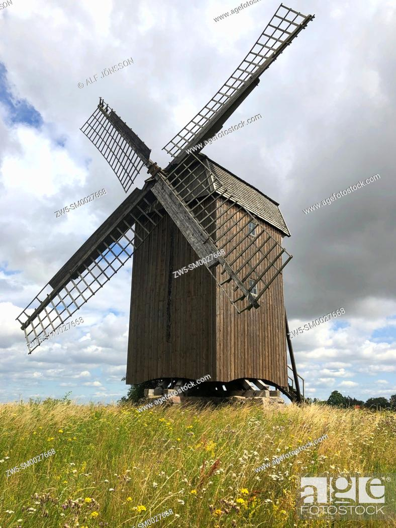 Stock Photo: Old windmill in Scania, Sweden.