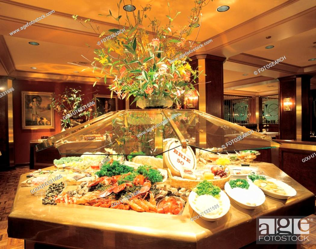 Stock Photo: meal, construction, buffet, restaurant, interior, film.