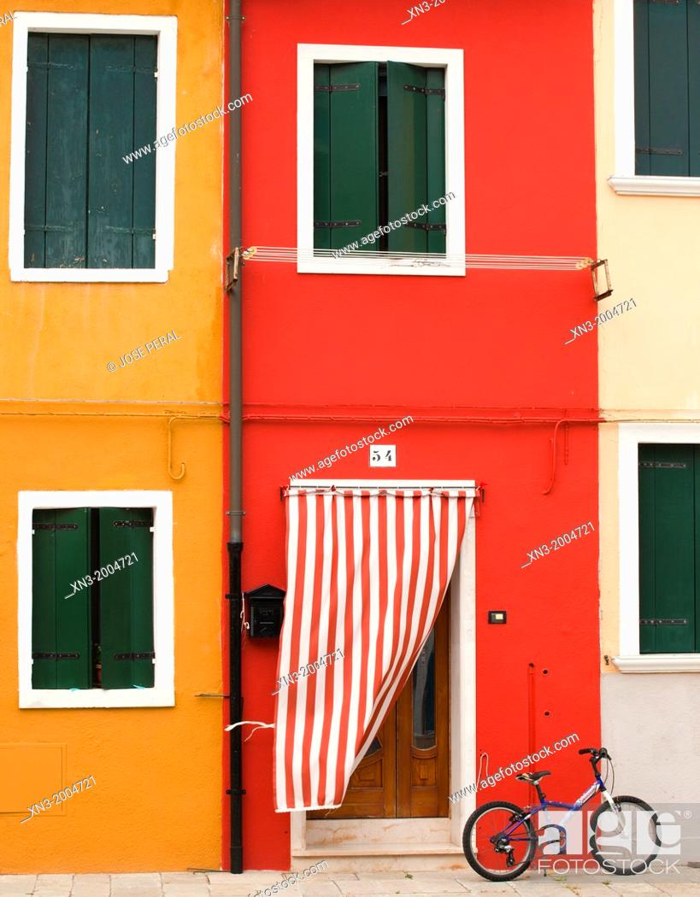 Stock Photo: Colorful houses, Burano island, Venice, Veneto, Italy, Europe.
