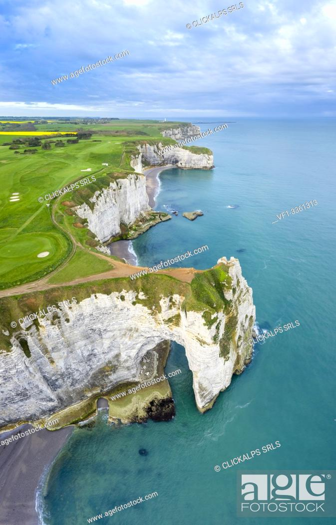 Stock Photo: Aerial view of the cliffs of Etretat, Octeville sur Mer, Le Havre, Seine Maritime, Normandy, France, Western Europe.