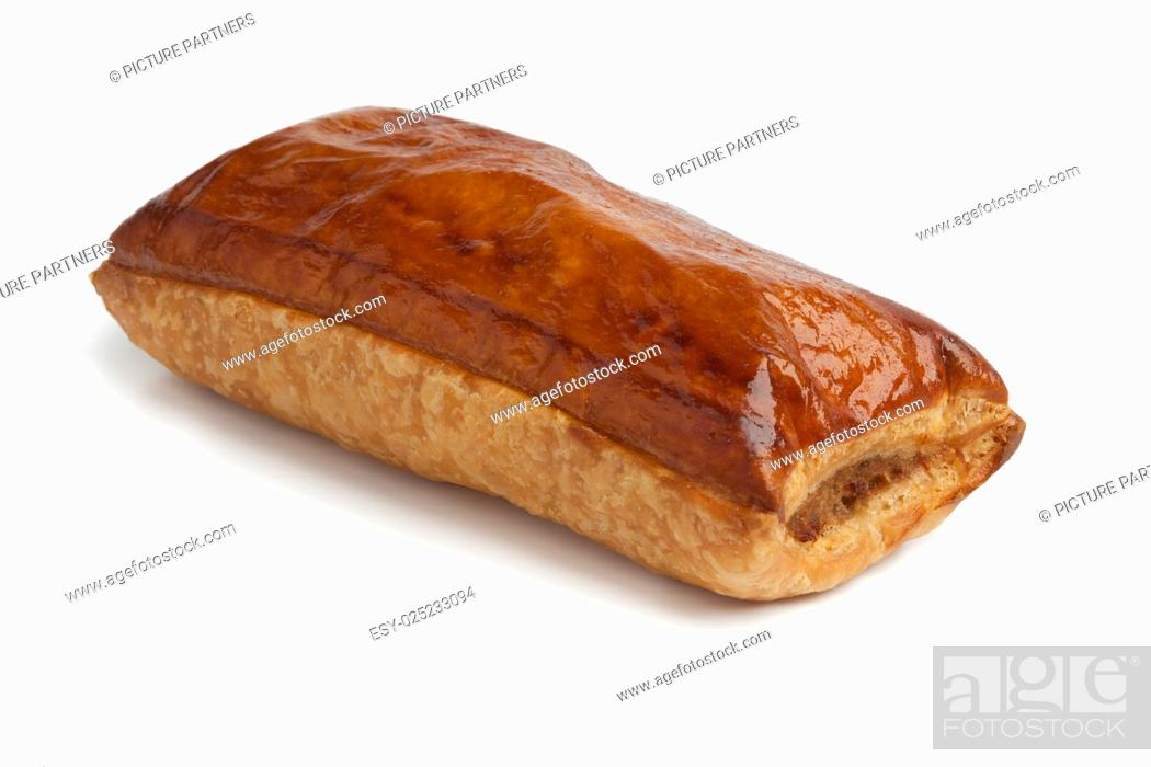 Stock Photo: Fresh baked whole sausage roll on white background.