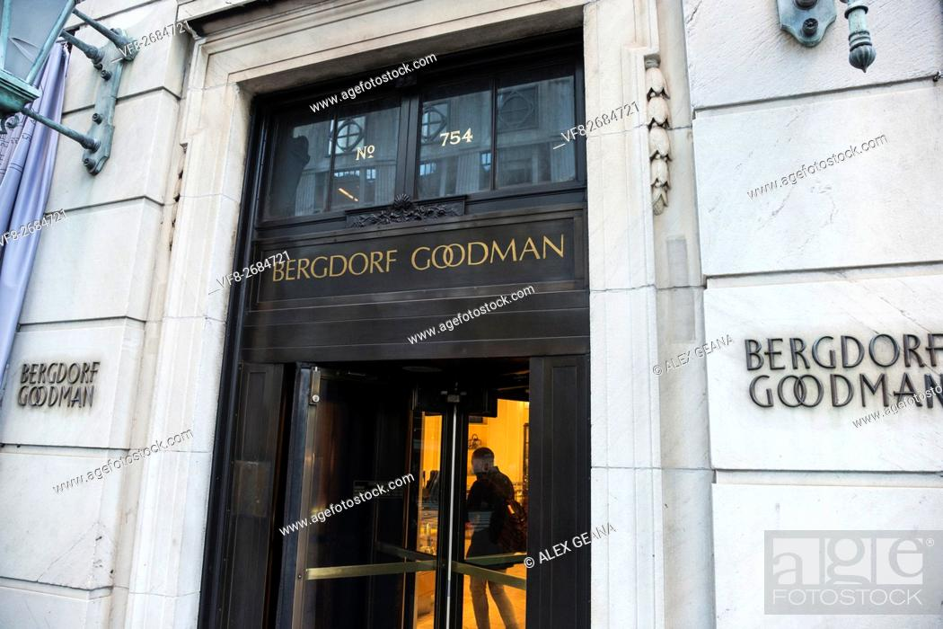 Stock Photo: The door of the iconic luxury department store on Fifth Avenue Bergdorf Goodman.