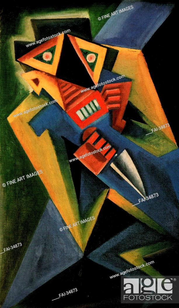 Stock Photo: Fantomas by Capek, Josef (1887-1945)/Oil on canvas/Expressionism/1918/Czechia/Private Collection/85x50/Genre, Mythology, Allegory and.