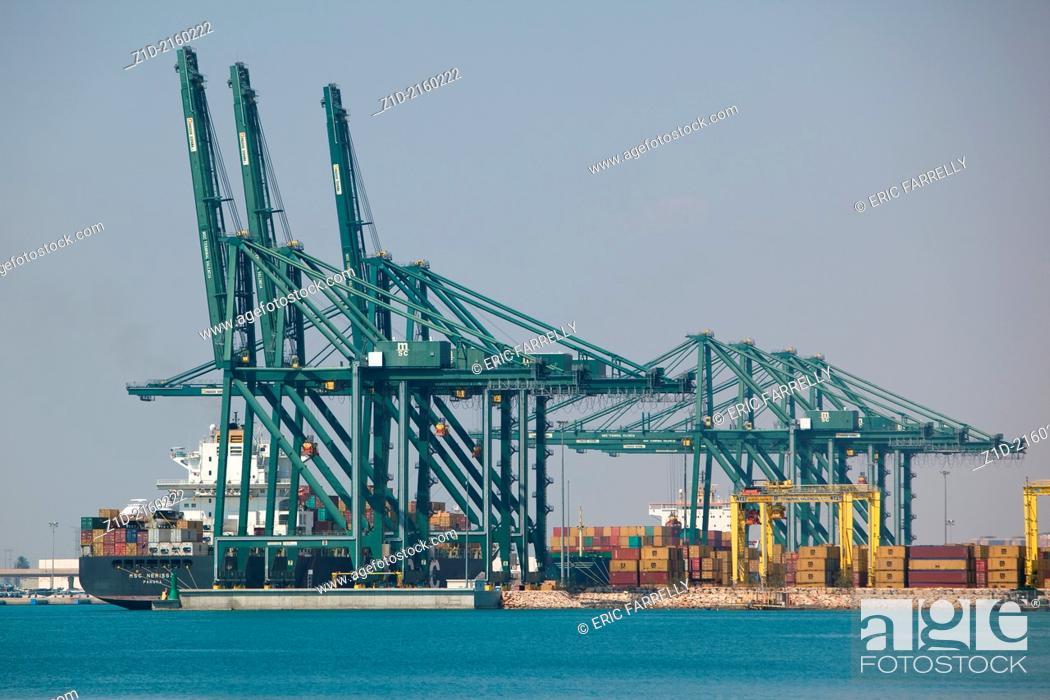 "Stock Photo: Container ship """"MSC NERISSA"""" loading Valencia harbour Spain."