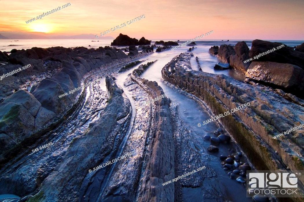 Stock Photo: Sunset Beach Barrika. Biscay. Spain.
