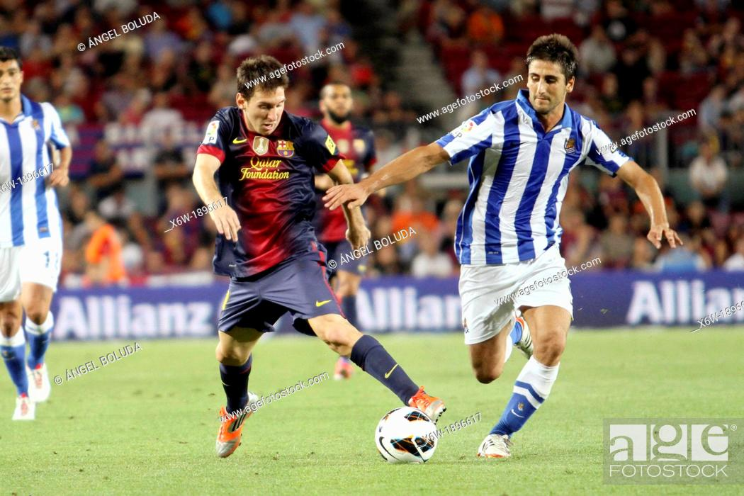 Stock Photo: Barcelona, Spain  in action during the Spanish la Liga game between Barcelona and Real Sociedad from the Nou Camp.