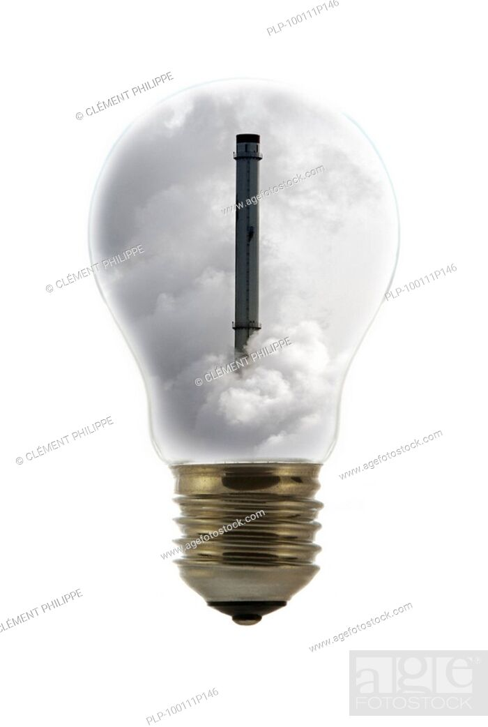 Stock Photo: Chimney covered in smoke inside incandescent lamp / bulb against white background.