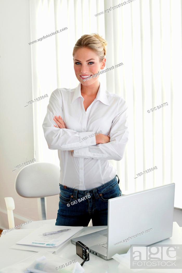 Stock Photo: woman working.