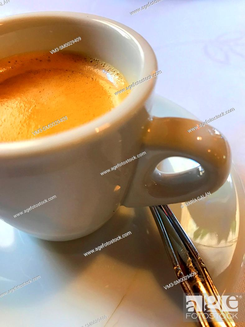 Stock Photo: Cup of coffee. Close view.