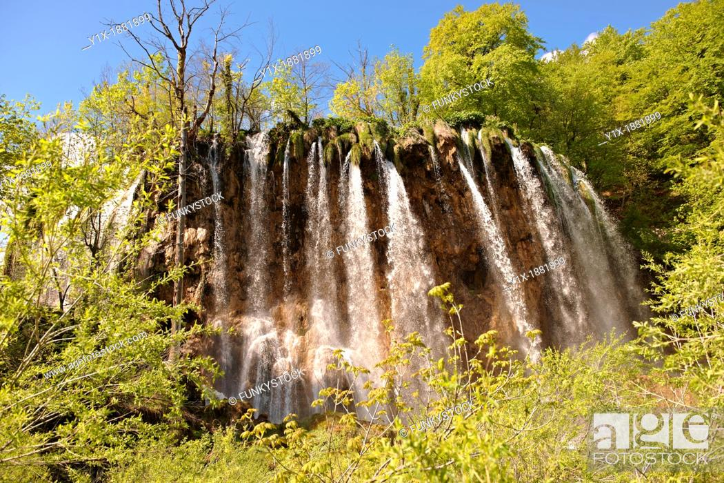 Stock Photo: Cascades of water running over the travetine deposits between the lakes of Plitvice. Plitvice  Plitvi-ka  Lakes National Park, Croatia.