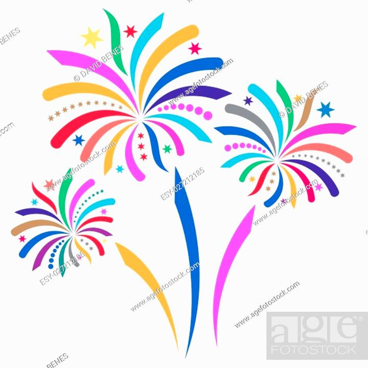 Stock Photo: Beautiful colorful vector firework isolated on white background.