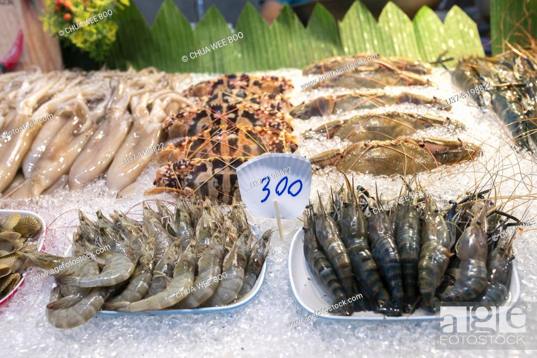 Seafood for sale  Chiang Mai Night Market, Thailand, Stock