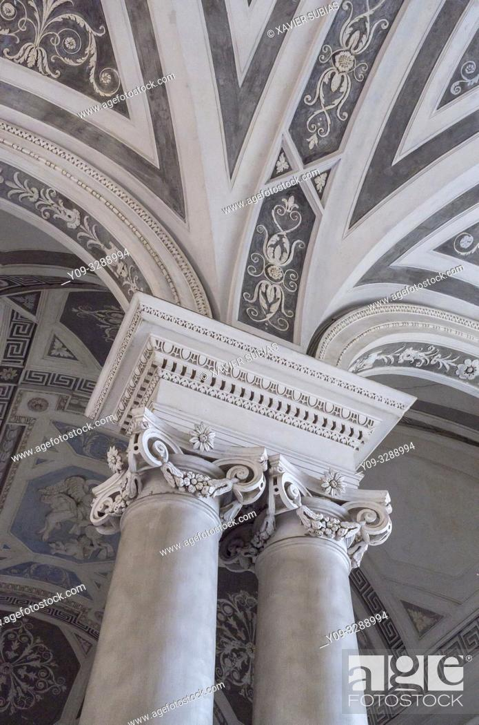 Stock Photo: Columns, Monumental staircase, Monastery Benedictine, Catania, Sicily, Italy.