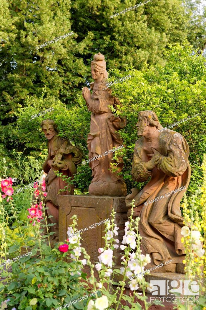 Stock Photo   Virgin Mary Statue In The Engelsgärtchen Garden, Former  Benedictine Abbey Seligenstadt, Hesse, Germany