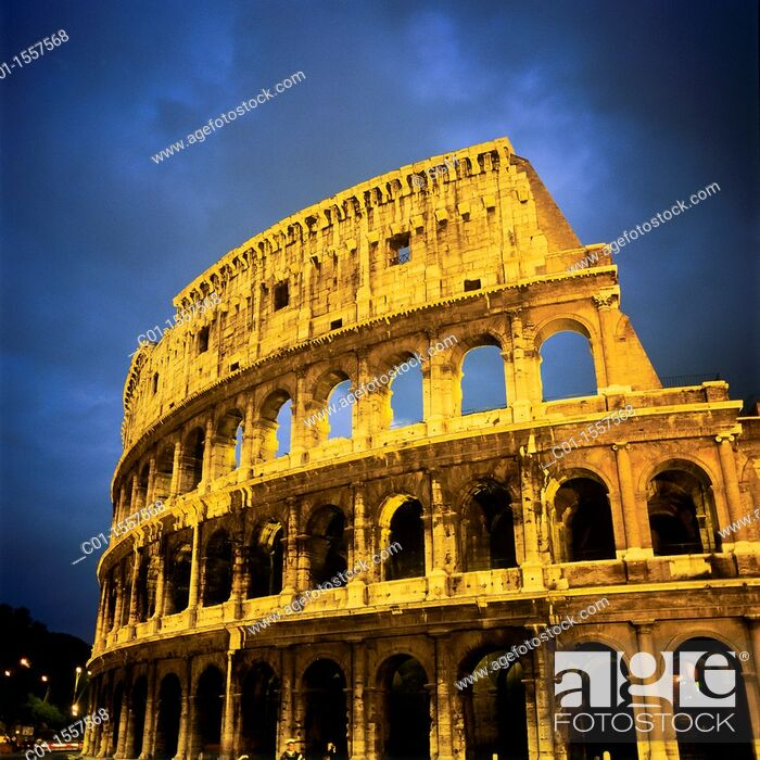 Stock Photo: sgm70031 Colosseo, Colosseum at dusk with stormy sky, Rome, Italy.