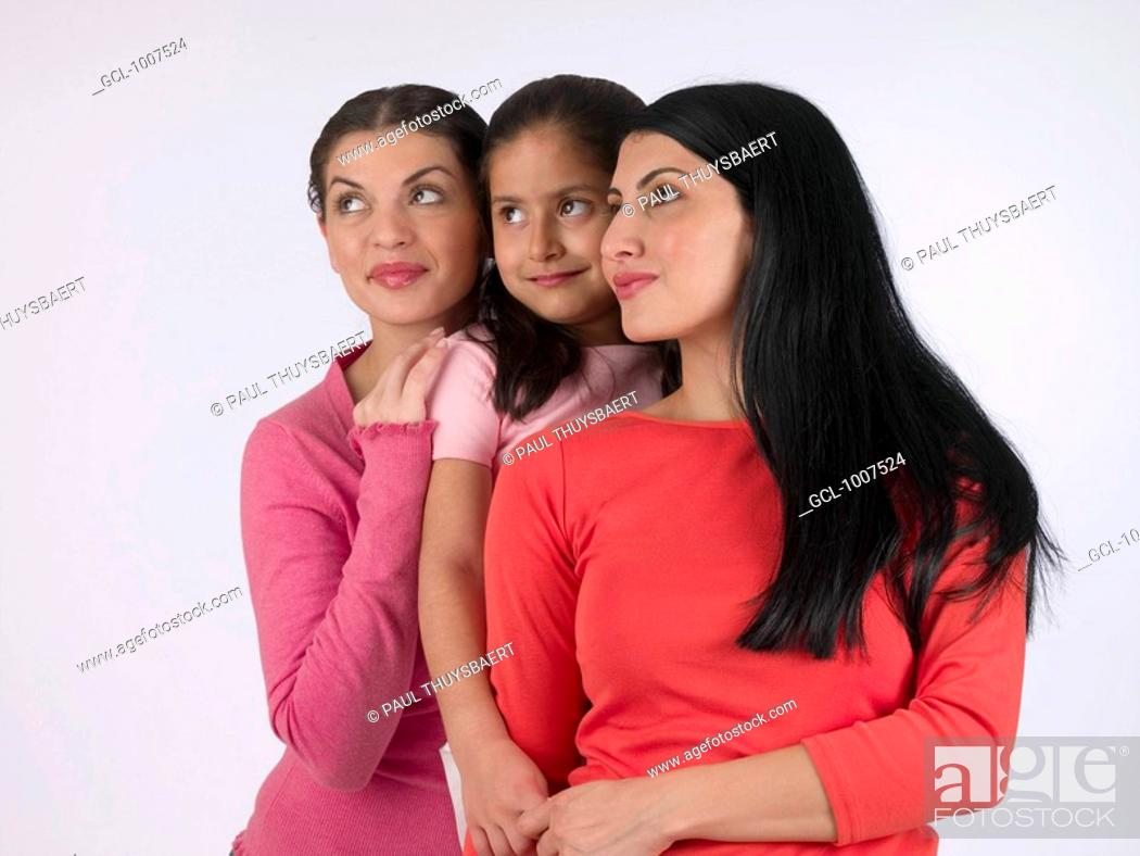 Stock Photo: Portrait of two women and a child.