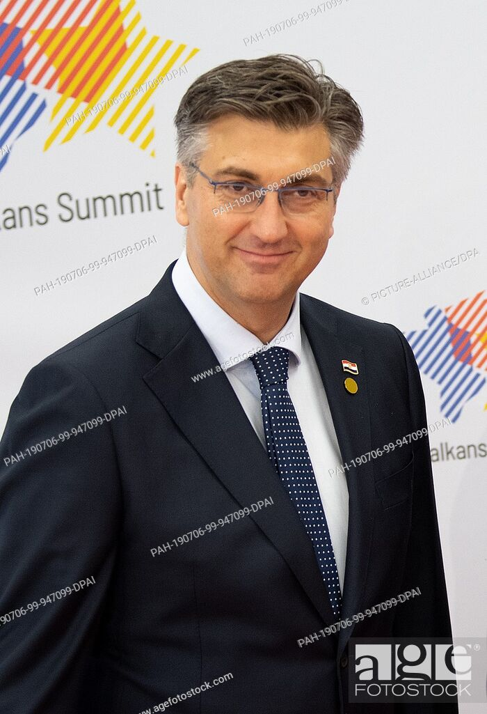 Stock Photo: 05 July 2019, Poland, Posen: Andrej Plenkovic, Prime Minister of Croatia, recorded at the Western Balkans Summit. The aim of the Summit is to assist the Balkan.
