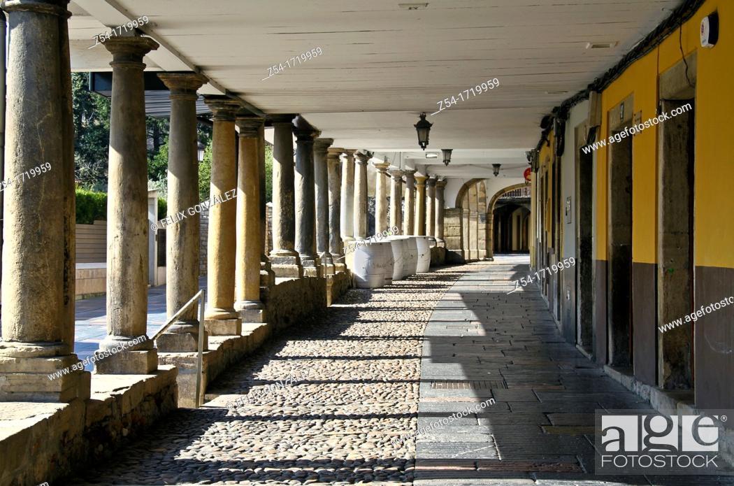 Stock Photo: Aviles, Asturias, Spain Galiana street.