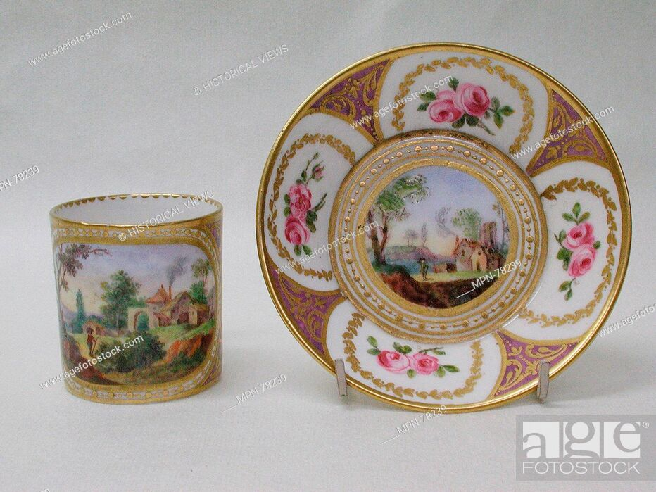 Stock Photo: Cup and saucer (gobelet litron et soucoupe). Factory: Sèvres Manufactory (French, 1740-present); Decorator: Jean Bouchet (active 1757-93); Decorator: Gilded by.