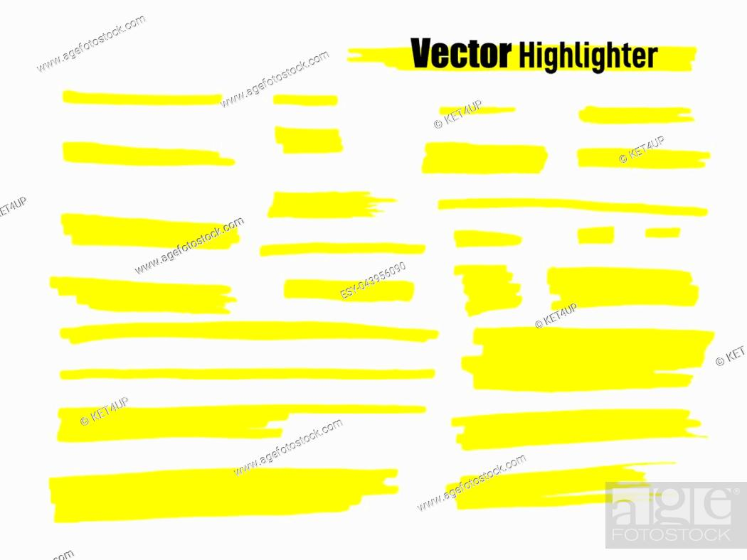 Stock Vector: Vector highlighter brush set. Hand drawn yellow highlight marker stripes.