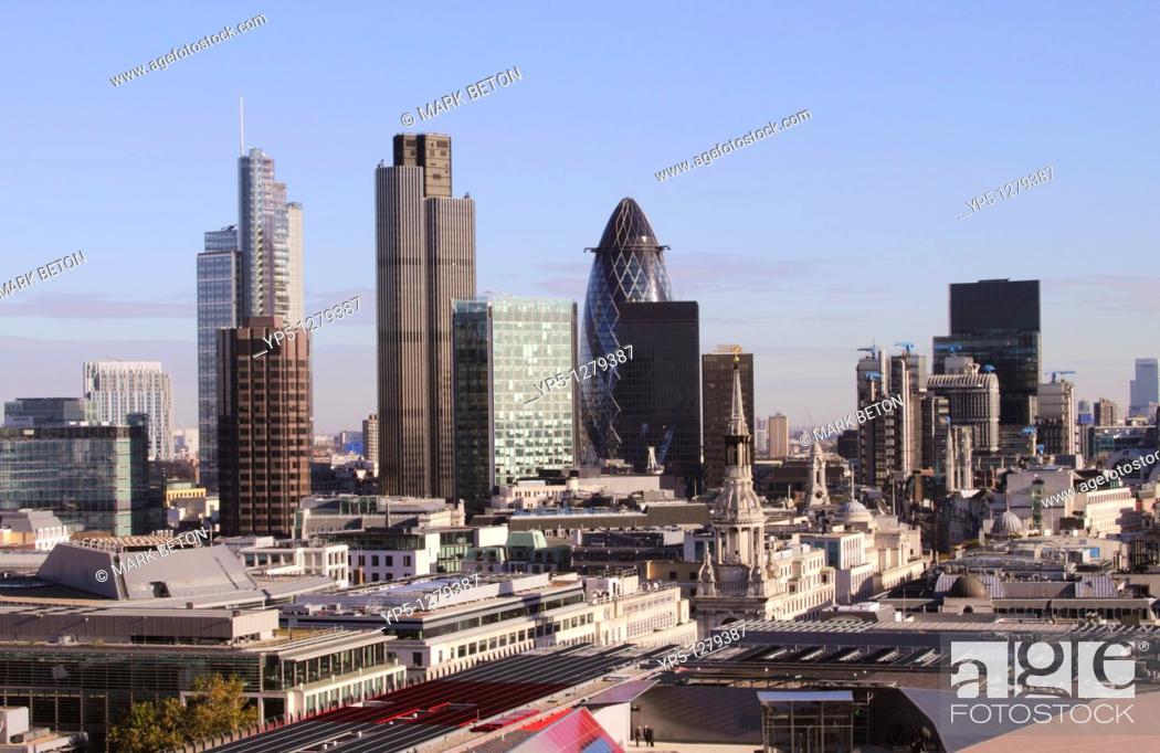 Stock Photo: London financial district skyline 2010.