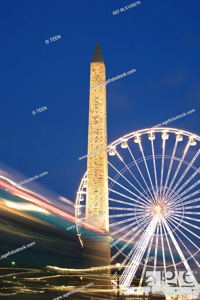 Stock Photo: Obelisk and Ferris Wheel Place de la Concorde , Paris, France.