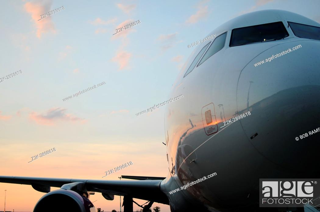Stock Photo: Airbus A320 waiting passengers before take off.