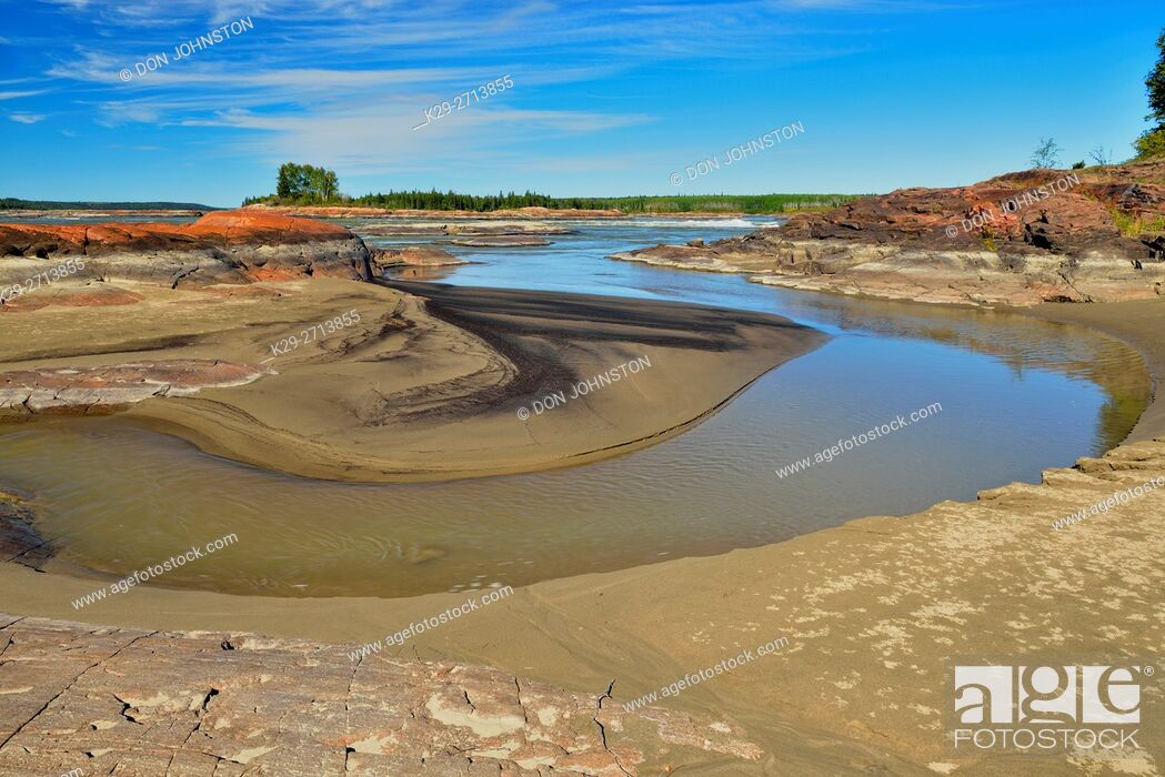 Stock Photo: Slave River shoreline near the Mountain Rapids, near Fort Smith, Alberta, Canada.