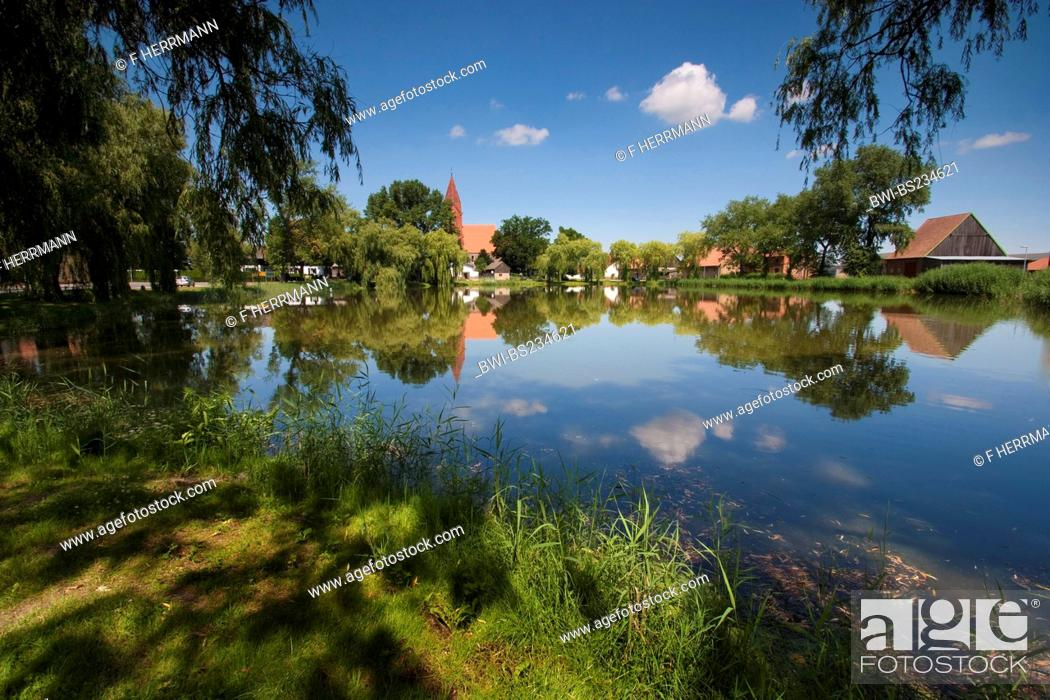 Stock Photo: view over a lake at the small town close to Angermuende, Germany, Brandenburg, Vogtlaendische Schweiz, Greiffenberg.