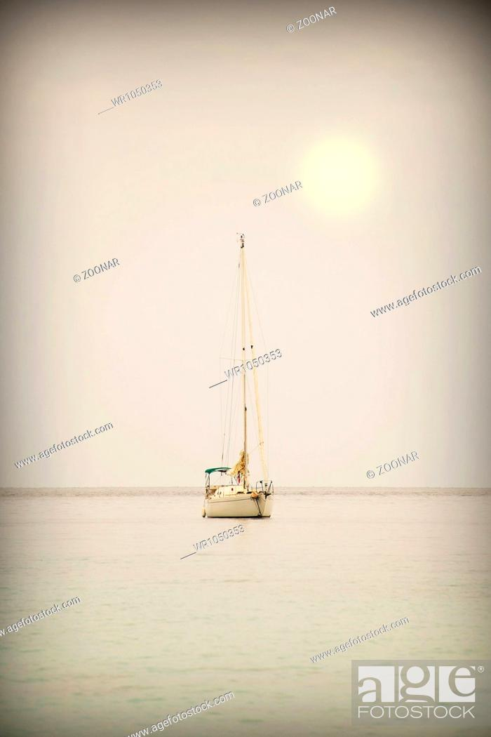 Stock Photo: Yacht in the open sea.