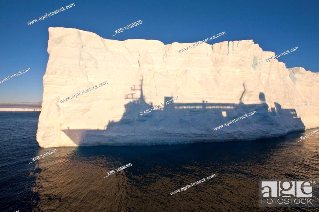 Stock Photo: The Lindblad Expedition Ship National Geographic Explorer operating in Antarctica in the summer months.