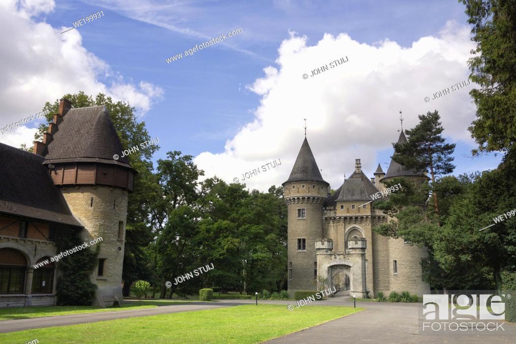 Stock Photo: Exterior view of the Zellaer castle in Bonheiden close to the Belgian city Mechelen.