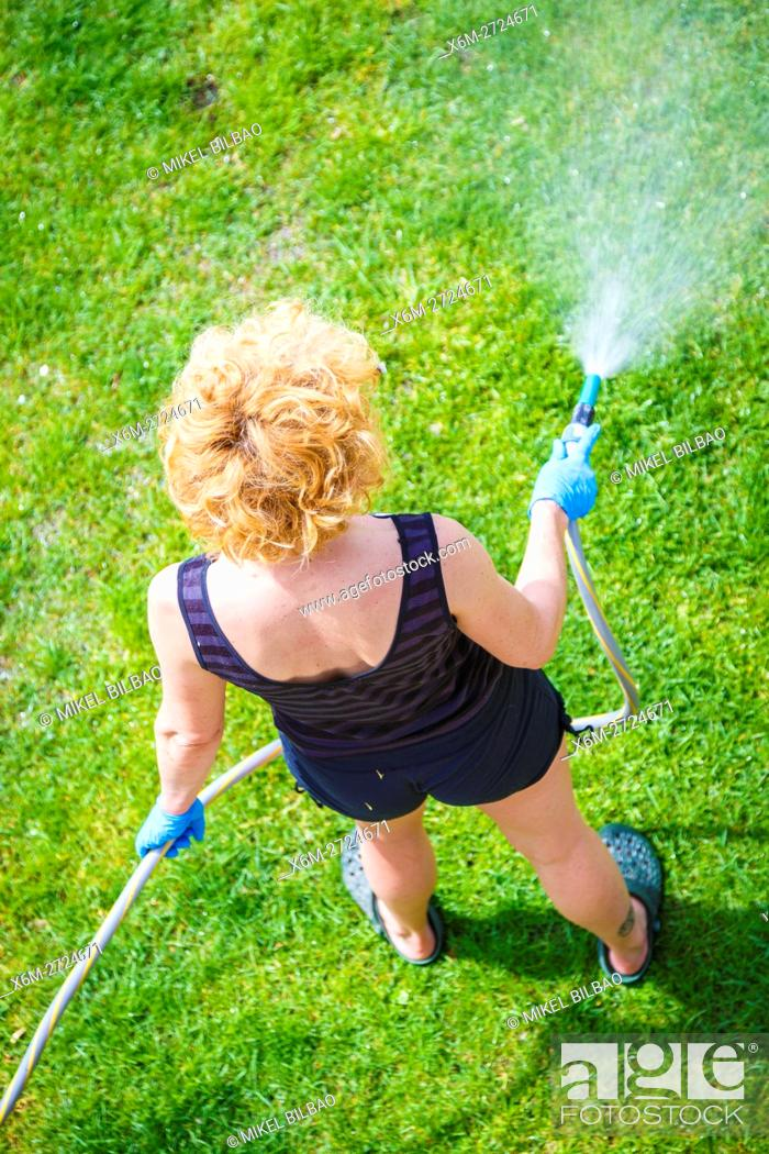 Stock Photo: Woman irrigating a garden.