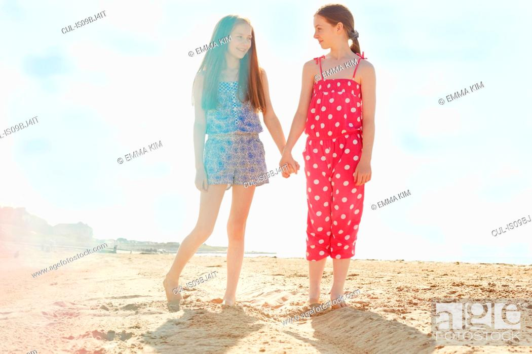 Stock Photo: Best friends on seaside holiday.