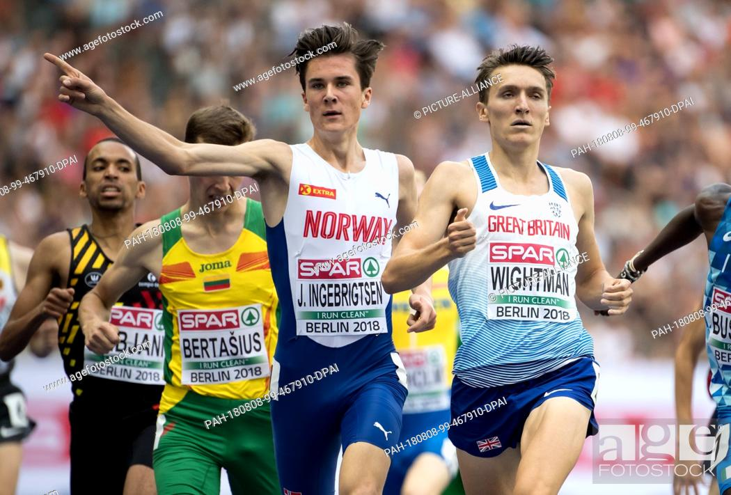 Stock Photo: 08.08.2018, Berlin: Track and Field: European Championships at the Olympic Stadium: 1500m, preliminary round, men: Jakob Ingebrigtsen from Norway and Jake.