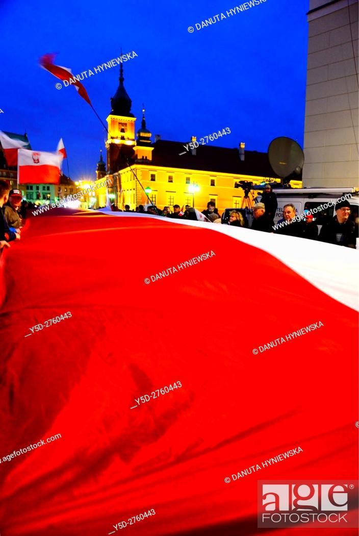 Stock Photo: April 10 every year Polish people gather to memorize anniversary of Polish Air Force Tu-154 crash near Smolensk (Russia) on 10 of April 2010 in which 96 Polish.