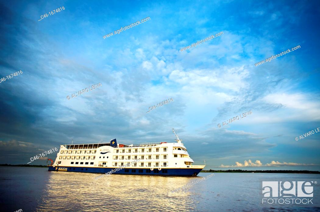 Stock Photo: The ship Iberostar Grand Amazon near Manaus  Amazonas state, the Amazon, Brazil.
