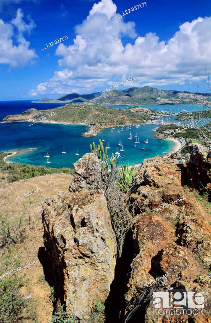 Stock Photo: The view from Shirley Heights stretches over the harbour and far across the Caribbean to Montserrat and Guadaloupe. Antigua island.