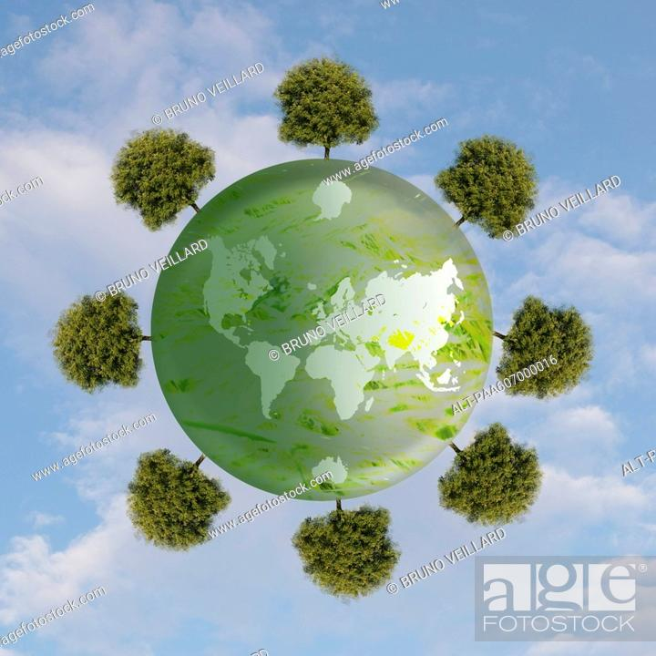 Stock Photo: Ring of trees around planet earth.
